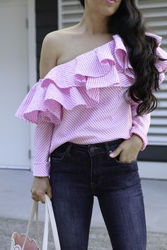 Pink Striped One Shoulder Ruffle Top Casual Summer Outfit One Shoulder Ruffle Top, One Shoulder Tops, Summer Outfits, Casual Outfits, Fashion Outfits, Sleeves Designs For Dresses, Stylish Petite, Diy Vetement, Casual Tops For Women