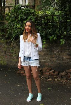 Studded shorts & Tweed jacket (by Besugarandspice FV) http://lookbook.nu/look/3497891-Studded-shorts-Tweed-jacket