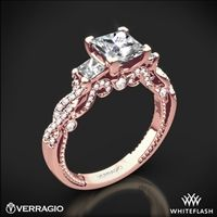 20k Rose Gold Verragio INS-7074P Beaded Braid Princess 3 Stone Engagement Ring