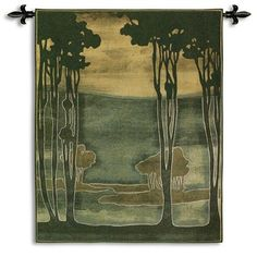 Fine Art Tapestries Nouveau Trees I BW Wall Hanging
