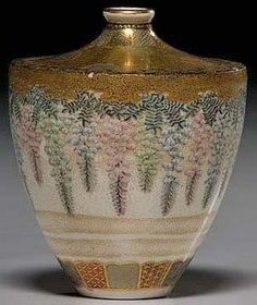 Japanese Satsuma, Meiji Period, 1876-1900, cabinet vase, squat shouldered form decoratedwith wisteria