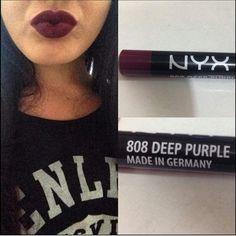 I love dark lipstick | nyx cosmetics | 808 deep purple
