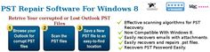 Use third party tool to Repair PST on Windows 8 in three simple steps. Any kind of damages personal folder file can be repaired using this tool.
