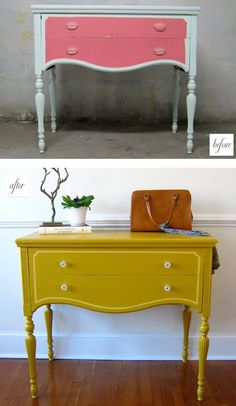 Loving that chartreuse-type colour. Almost any piece of furniture can be improved with a coat of paint.