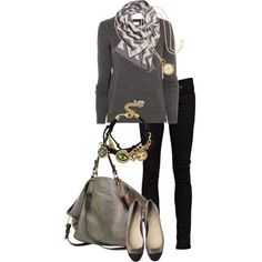 Chevron Scarf by simple-wardrobe on Polyvore featuring Mulberry, Nudie Jeans Co., Pauric Sweeney, Betsey Johnson, H&M, String Theory and Chanel
