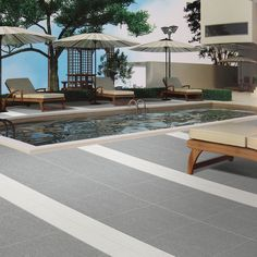 Spice up your pool deck with Porcelain Basaltina Series. #pooldecking # porcelaintile #exteriordesign https://www.arizonatile.com/en/products/porcelain-and-ceramic/basaltina