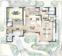 Japanese Architecture, Architecture Design, Cafeteria Plan, Japan House Design, Plan Sketch, B 13, Sims House, Japanese House, House Layouts