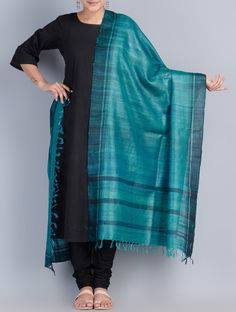 Buy Blue Black Tussar Ghicha Silk Border Dyed Dupatta by Pragati ki Ore Giccha Accessories Dupattas Maithili Musings Hand painted Madhubani Sarees & Stoles Online at Jaypore.com