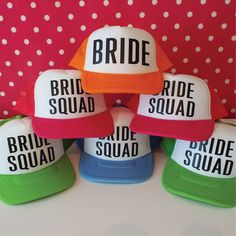 Set Of 10 Bachelorette Party Hats.  9 Bride Squad Hats. 1 Bride Hat. Hen Party Hats. Snapback. Bridal Party. Wedding Party Trucker Caps. by SoPinkUK on Etsy