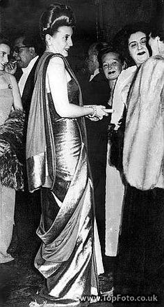 Eva Duarte de Peron, wife of the President  attends the opera in Buenos Aires. 1947