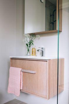 Modern bathroom furniture in oak Furniture, Kitchen Interior, Custom Kitchen, Bathroom Furniture, Interior, Master Bathroom, Bathroom Furniture Modern, Cabinetry, Bathroom