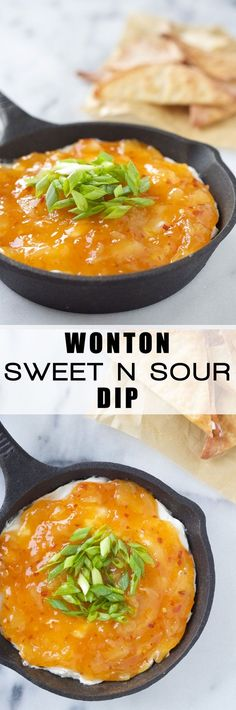 Wonton Sweet and Sour Cream Cheese Dip is a simple appetizer that you can prepare either hot or chilled! Crispy wontons dipped into a sweet and sour cream cheese dip!