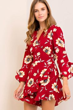 Floral Textured Ruffled Wrap Romper