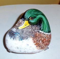 Mallard Duck hand painted river rock with stand