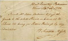 Pass written by Benedict Arnold for 'Mr. John Anderson' (British major John Andre)