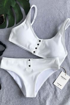 55b87ebbe4004 Chicnico Simple Front Button Bikini Solid Color Bikini Set White Bathing  Suits