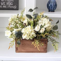 how to put a flower arrangement together in a cedar wood box Faux Flowers, White Flowers, Beautiful Flowers, Floral Flowers, Floral Centerpieces, Table Centerpieces, Table Decorations, Centrepieces, Deco Floral