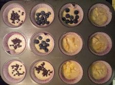 busy mom puffins (pancake muffins)   preheat oven to 350, mix 1 c pancake mix, 2/3 c water, 1/2 c syrup. mix together, pour in greased muffin pan. top with banana, blueberries, chocolate chips, pecans, sausage, bacon....etc.  bake for 12-14 minutes and serve.  easy, fast, delicious  no syrupy mess!!