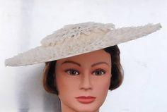 20433844c Women's Antique Vintage Tilt Hat Neutral Color Polka Dot Sheer Tea or  Garden Party Hat