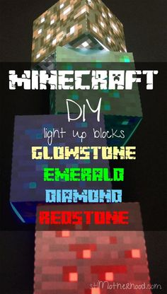 Free printable to create you own light up paper MInecraft blocks in Emerald, Redstone, Glowstone and Diamond ores!