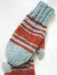 Use this free knitting pattern to make your own Tweedy Mittens. The light blue and orange hues of these mittens help them stand out among drab surroundings.