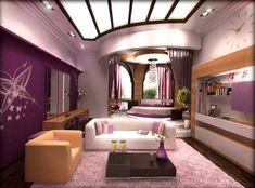 Sisustus: eksoottinen violetti moderni aasialainen sisustus kaareva katto ja kauniita taiteellisia perhosseja seinämaalausideat moderni aasian sisustussuunnittelu ideoita