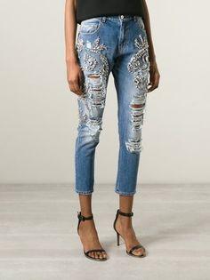 Marco Bologna crystal embellished distressed jeans