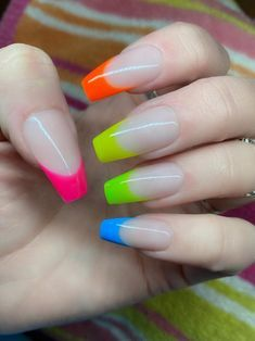 French Tip Manicure, French Tip Acrylic Nails, Acrylic Nails Coffin Short, French Nails, Nail Manicure, Neon Acrylic Nails, Neon Nails, Glue On Nails, Pink Nails