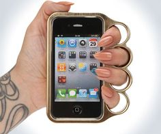 Brass Knuckles iPhone Case | DudeIWantThat.com    worth the risk of confiscation yo.