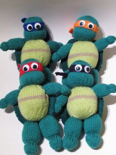 Love Retro then youll love this Teenage Mutant Ninja Turtles Knitting Pattern to knit all of the action heroes - Leonardo, Donatello, Raphael and Michelangelo. Kids love the heros in a half shell, and they are fun and easy to make. Each turtle measures approx 19 cm, so are perfect for little hands to play with. The turtles are knitted on 2 pins. Love our designs? Join our Newsletter and be one of the first to see new products and knitting patterns being added to the TeaCosyFolk Etsy shop…