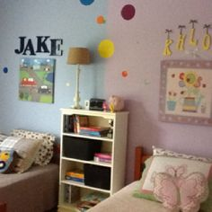 Shared bedroom for boy/girl siblings...  Would be PERFECT for the new room :)