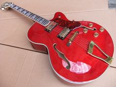 Wholesale – free shipping Hollow L-5 Jazz Electric Guitar Gold Hardware  Red Top Musical instruments 100816