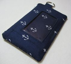 Keychain Wallet with ID Pocket and Split Ring by EarlyBirdStitches, $15.00