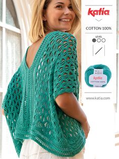 4 Summer 2019 Hand Made Knit and Crochet Fashion Trends: stripes, oversize, asymmetry and simple details Crochet Tunic, Diy Crochet, Crochet Clothes, Crochet Top, Knitting Patterns Free, Crochet Patterns, Crochet Fashion, Beautiful Crochet, Pulls