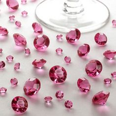 Hot pink table crystals, truly stunning on reception tables