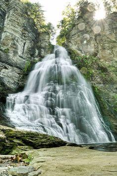 Frontenac Falls, located in Camp Barton on Cayuga Lake