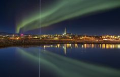 iISLANDIA  EUROPA -  .Auroras boreales en la Cdad.   Reykjavik Northern Lights