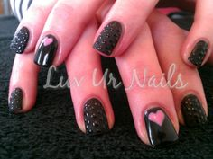 Gelish Matt Black Shadow & Go Girl. I loooooove this look!!!!!