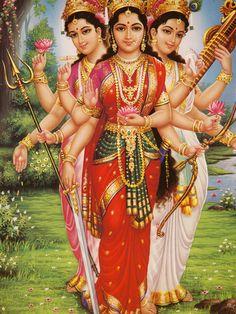 Goddesses Parvati, Lakshmi and Saraswati. Each is a depiction of Adi Shakti. One is Shakti (Parvati), the other is Yukti (Saraswati) and the last is Bhukti (Lakshmi)