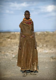 Turkana woman with leather dress - Kenya