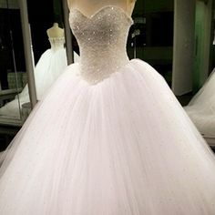Bling Bling Sweetheart Drop Waist Wedding Princess Dresses Lace Appliques 2017