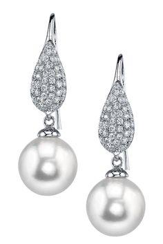 18K White Gold 9mm White South Sea Pearl & Diamond Earrings - 0.47 ctw