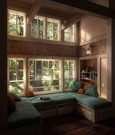 Don't let the space near your window unused. Instead, turn the space into a comfy window seat. Here we listed window seat ideas to help you create one Home Interior Design, Home Design, Design Ideas, Interior Ideas, Interior Stairs, Home Library Design, Vintage Interior Design, Design Inspiration, Cozy Nook