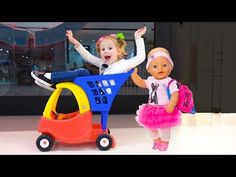 Shopping with Funny baby born doll and play hide and seek - YouTube