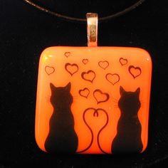 Two Cats in Love Pendant//Black Cats Setting//Black Cats Fused Glass Pendant//Handmade in USA by laughmyglassoff on Etsy