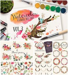 Description: Set of 85 png files with watercolor DIY flowers, horns, wreaths and other lovely elements for your postcard, print, web, logo designs. For personal use. Free for download. File format: .png for Photoshop or other vector software. File size: 363 Mb.