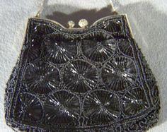 Vintage  Victorian Style fancy  Multi Jet Black Glass  Beaded Satin Purse Handbag        W