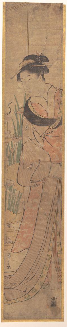 Young Lady and Iris Garden Artist: Chōbunsai Eishi (Japanese, 1756–1829) Period: Edo period (1615–1868) Hashira-e   24 1/4 x 4 7/16 in. (61.6 x 11.3cm)