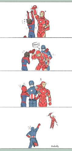 """the bully"">>> i think Iron Man would never bully Spiderman. He's basically his son!!"