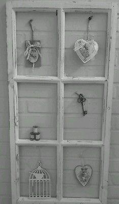 Fenster Deko Fensterrahmen Sprossenfenster Brocante Weiß Holz Shabby Chic 85cm